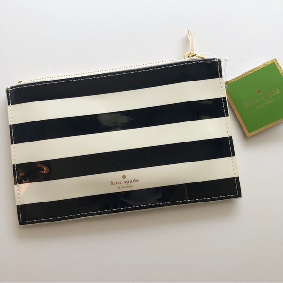 kate spade Handbags - NWT kate spade Black Stripe Pencil Case w/Supplies